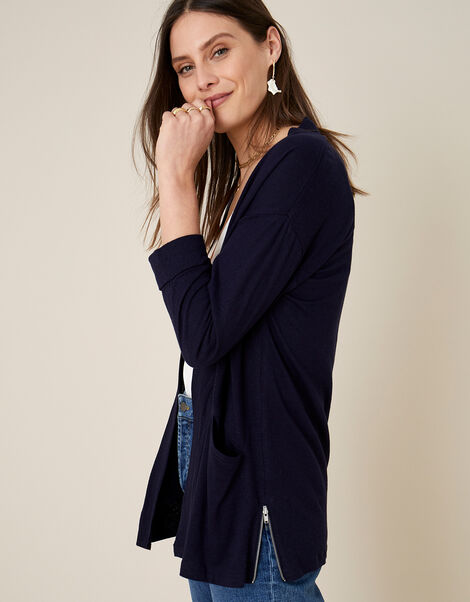 Plain Cover Up in Linen Blend  Blue, Blue (NAVY), large