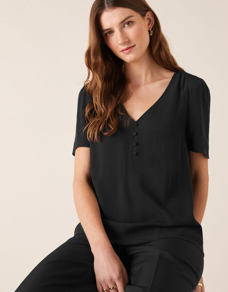 Button Front V-Neck Top Black, Black (BLACK), large