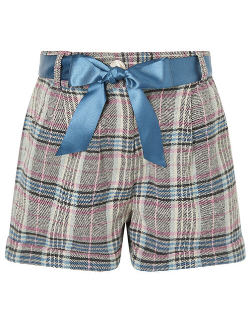 Check Shorts with Ribbon Belt, Teal (TEAL), large