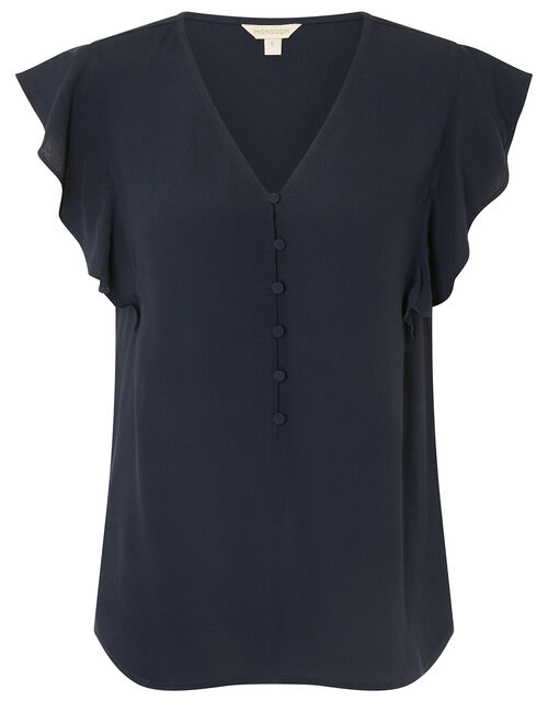 Ruffle Short Sleeve Blouse, Blue (NAVY), large