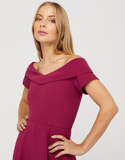 Savea Sustainable Bardot Hanky-Hem Midi Dress, Red (BERRY), large