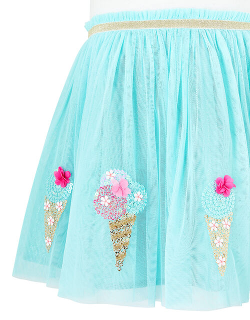 Baby Sequin Ice Cream Disco Dress, Blue (AQUA), large
