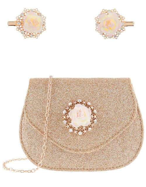 Glitter Flower Bag and Hair Clips Set, , large