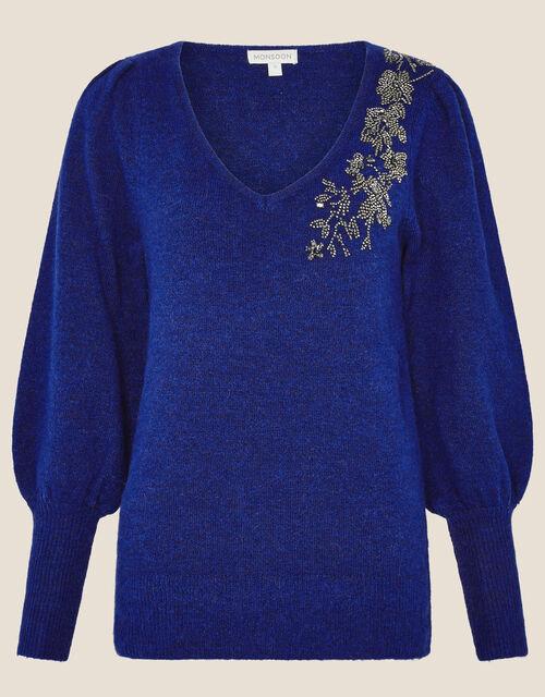 Embellished Blouson Sleeve Jumper, Blue (COBALT), large