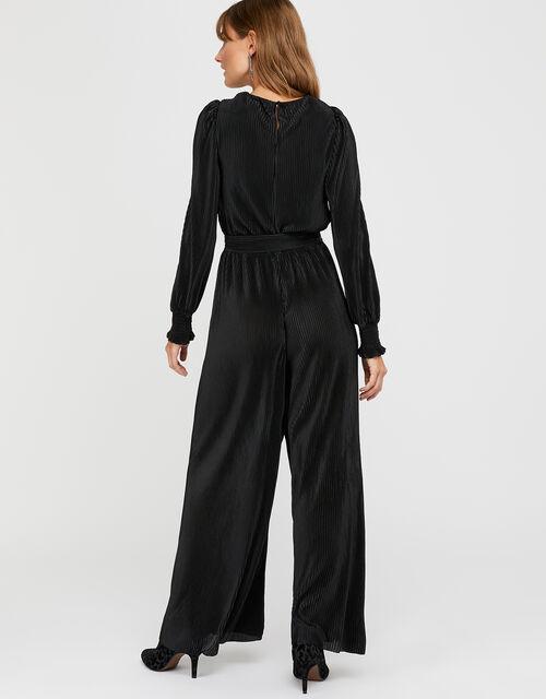 Lillian Plisse Jersey Jumpsuit, Black (BLACK), large