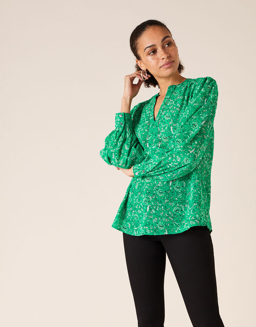 Sequin Neckline Printed Blouse, Green (GREEN), large
