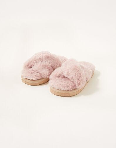 Cross Strap Fluffy Sliders Pink, Pink (PINK), large