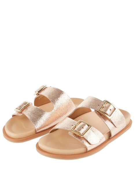 Metallic Buckle Sandals Gold, Gold (ROSE GOLD), large
