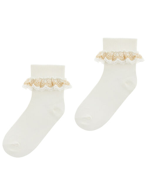 Chloe Metallic Lace Ankle Socks, Ivory (IVORY), large