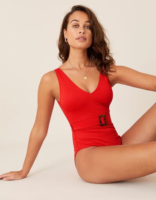 Karina Belted Swimsuit, Red (RED), large