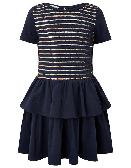 Sequin Stripe Tiered Jersey Dress, Blue (NAVY), large