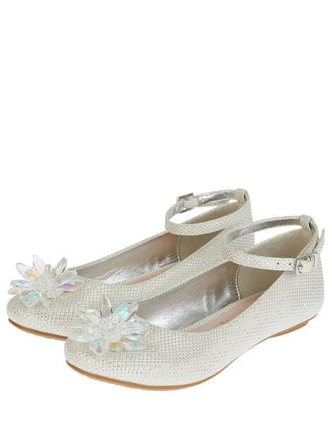 Crystal Shimmer Ballerina Flats Silver, Silver (SILVER), large