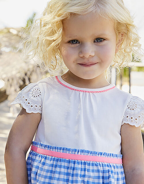 Baby Molly 2-in-1 Gingham Dress with Fruit Embroidery, Blue (BLUE), large