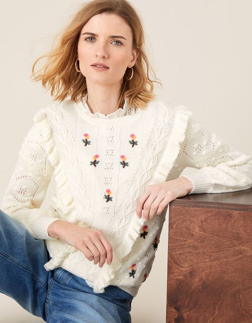 Embroidered Chunky Knit Jumper, Ivory (IVORY), large