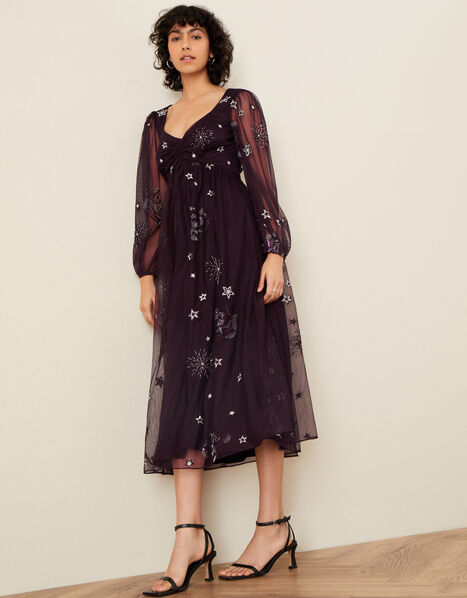 Tia Star Embellished Dress Purple, Purple (PLUM), large