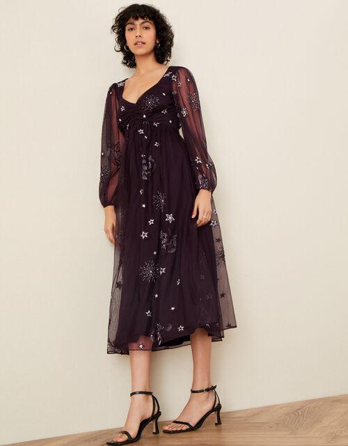 Tia Star Embellished Dress, Purple (PLUM), large