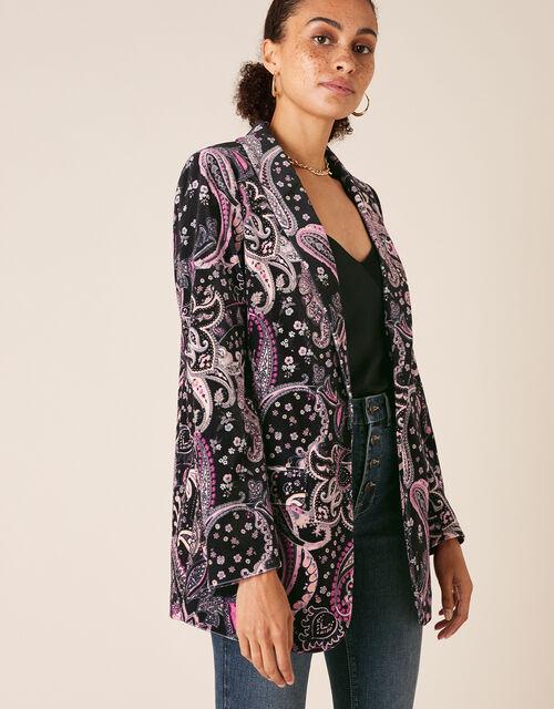 Paisley Print Velvet Jacket, Black (BLACK), large