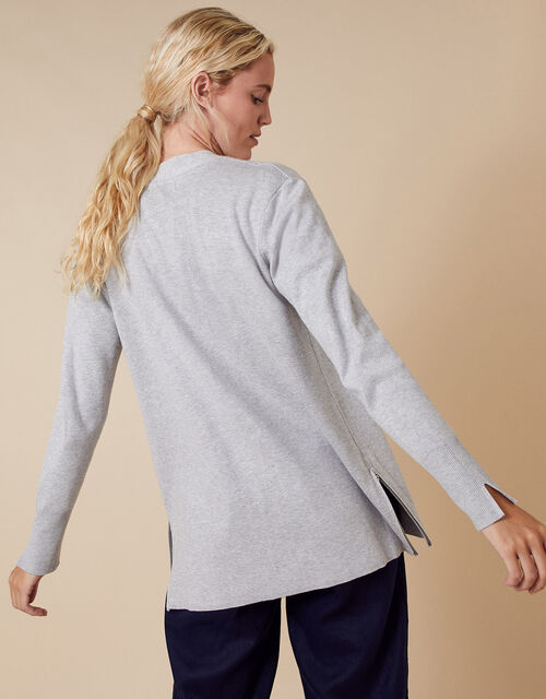 Zip Side Knit Cardigan with LENZING™ ECOVERO™, Grey (GREY MARL), large