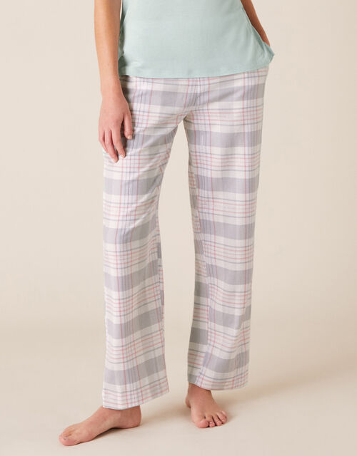 Check Print Pyjama Bottoms in Pure Cotton, Grey (GREY), large