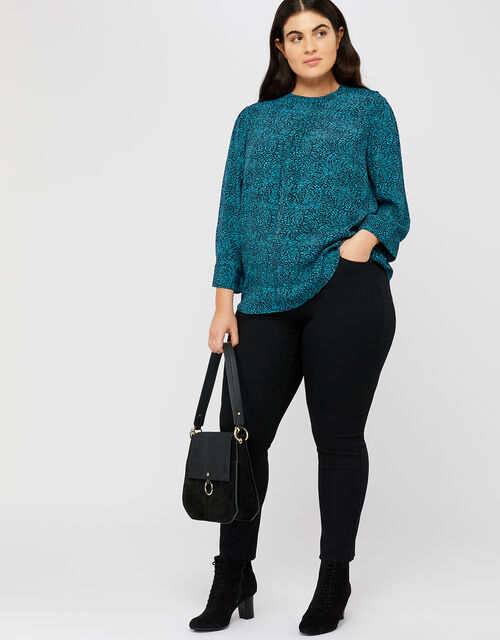 Annabelle Animal Print Top, Teal, large