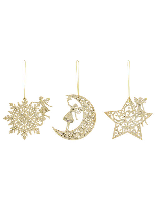 Glitter Fairy Wooden Decoration Multipack, , large