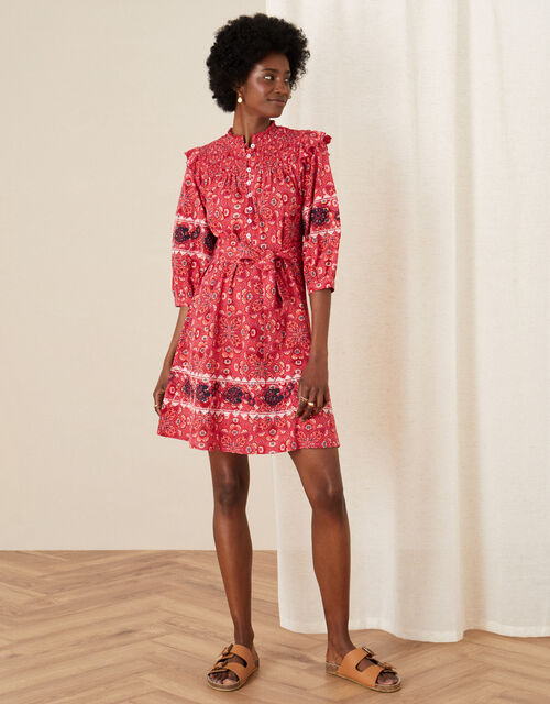 Davina Printed Frill Jersey Dress, Red (RED), large