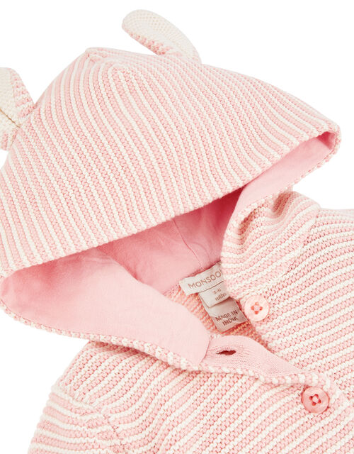 Newborn Baby Bess Knit Cardigan with Hood, Pink (PINK), large