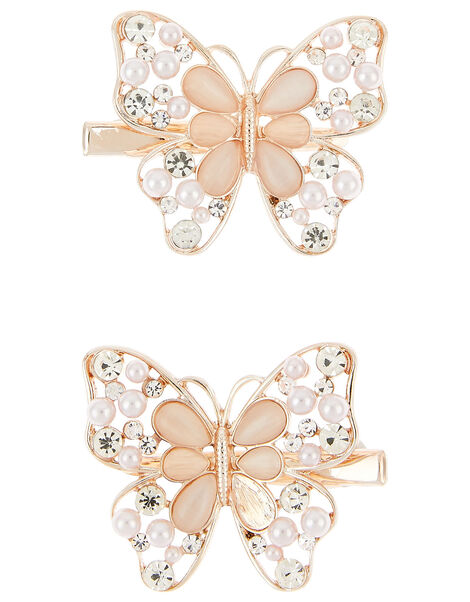 Shimmer Jewel Butterfly Hair Clip Set , , large