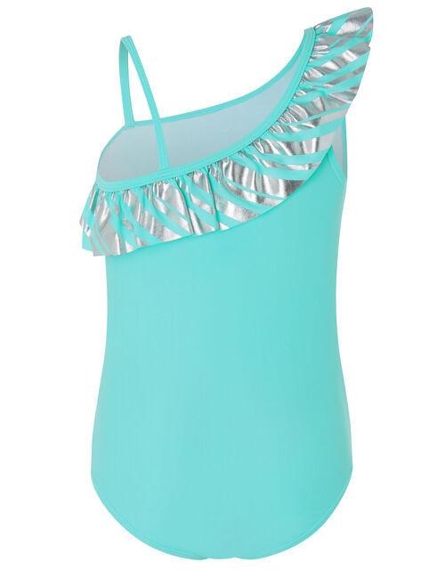 Malibu Stripe Frill Swimsuit, Blue (TURQUOISE), large