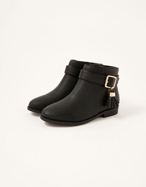 Buckle Strap Tassel Boots, Black (BLACK), large