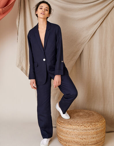 Smart Regular Length Trousers in Linen Blend Blue, Blue (NAVY), large