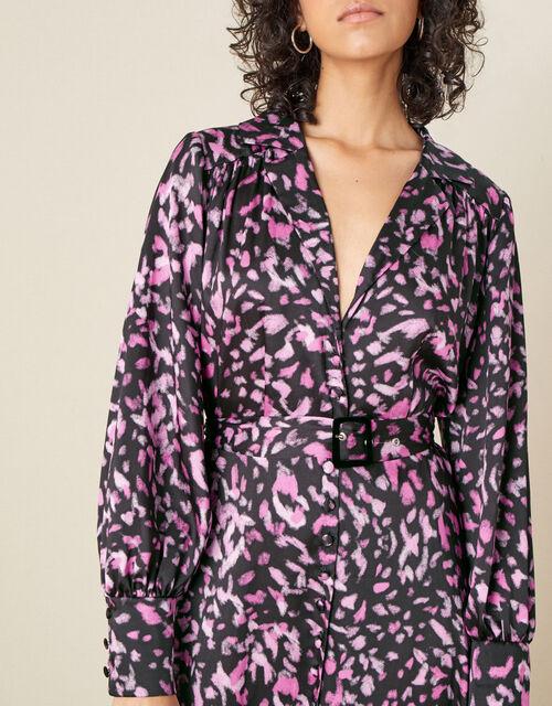 Niya Animal Print Shirt Dress, Black (BLACK), large