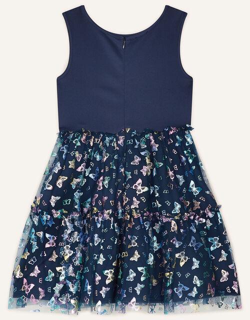 Butterfly Print Dress, Blue (NAVY), large