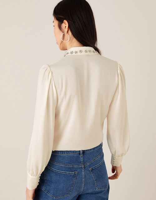 Cecilia Jewel Collar Blouse, Ivory (IVORY), large