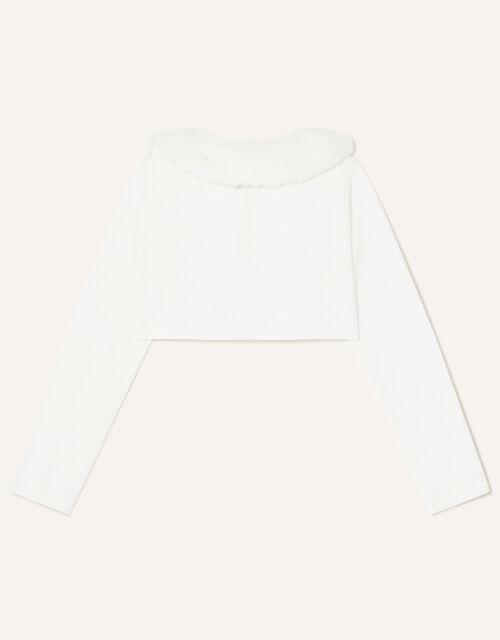Fluffy Collar Super-Soft Cardigan, Ivory (IVORY), large