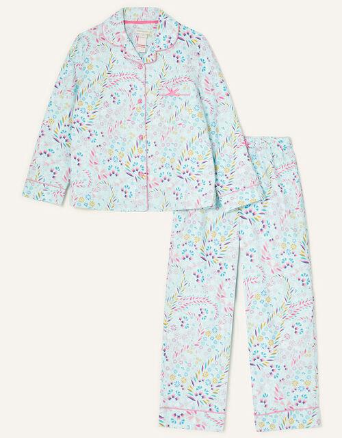 Polly Printed Flannel Pyjama Set, Blue (AQUA), large