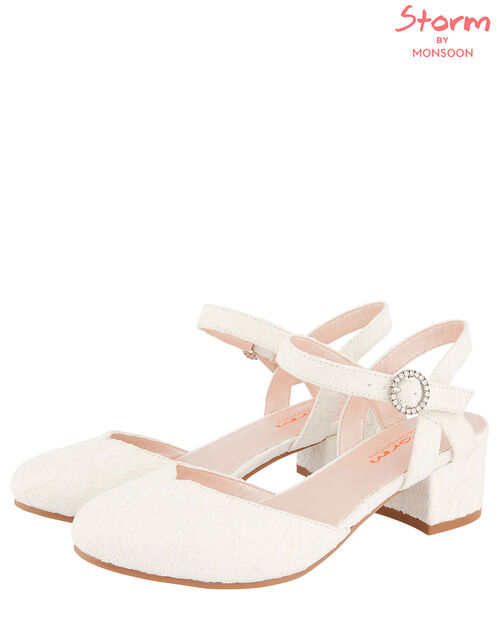Lace Two-Part Heeled Shoes, Ivory (IVORY), large