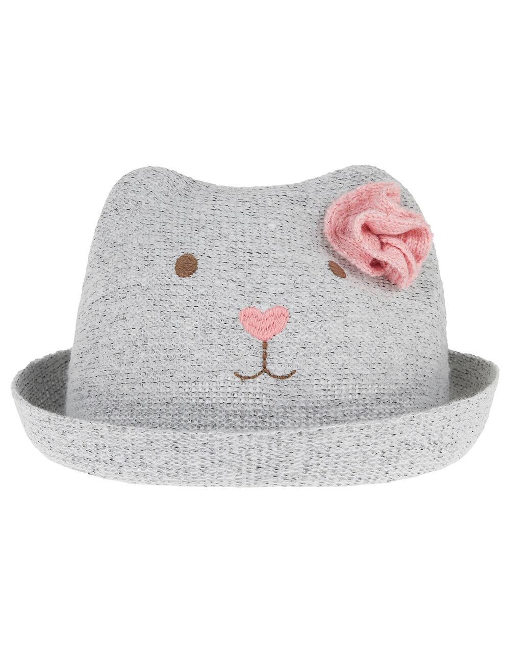 Baby Brooke Bear Bowler Hat, Grey (GREY), large