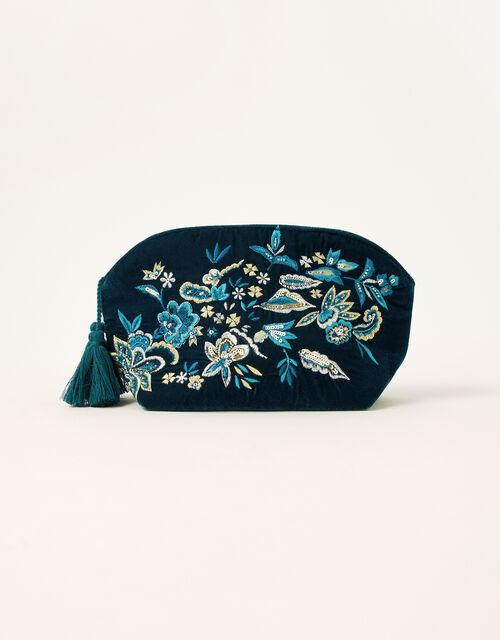 Floral Embellished Velvet Makeup Bag, , large