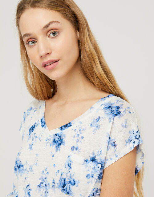 Lucia Floral T-Shirt in Pure Linen, Ivory (IVORY), large
