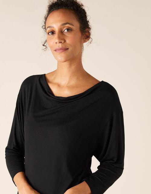 Cowl Neck Long-Sleeve Jersey Top, Black (BLACK), large