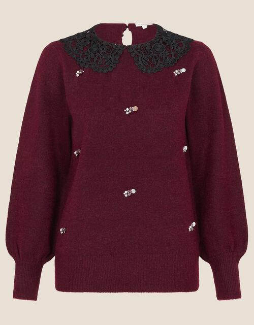 Collar All-Over Embellished Jumper, Red (BERRY), large