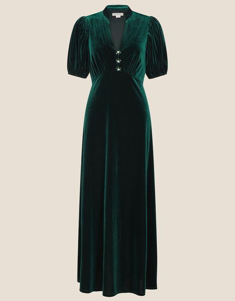 Veronique Velvet Shirt Dress Green, Green (GREEN), large