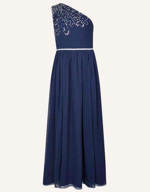 Scatter Sequin Prom Dress, Blue (NAVY), large