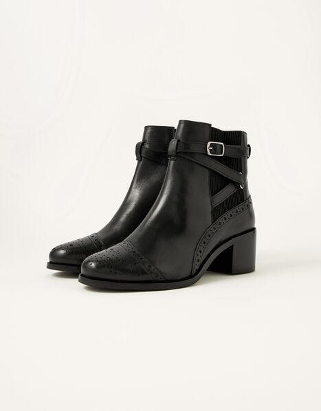 Bethan Leather Brogue Boots Black, Black (BLACK), large