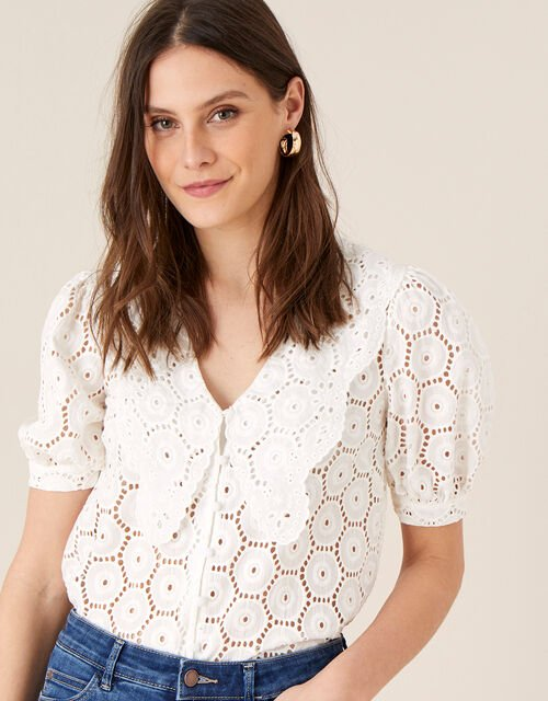 Mia Wide Collar Broderie Blouse, Ivory (IVORY), large