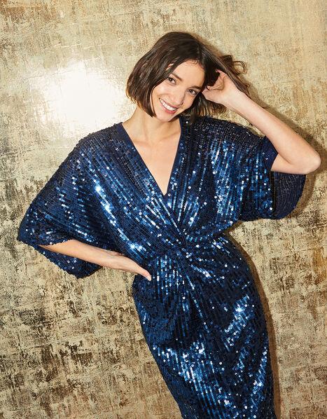 Symba Sequin Twist Midi Dress Blue, Blue (NAVY), large