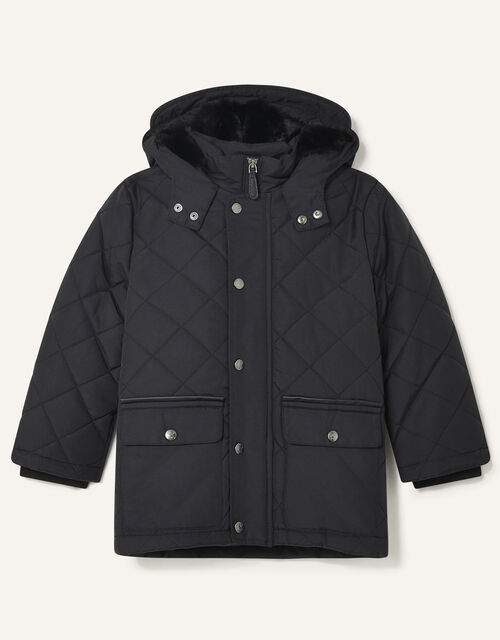Quilted Hooded Coat, Black (BLACK), large