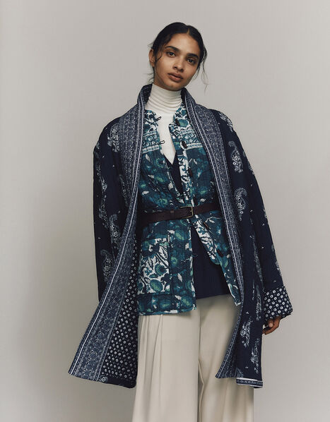 ARTISAN STUDIO Woodblock Print Jacket Teal, Teal (TEAL), large