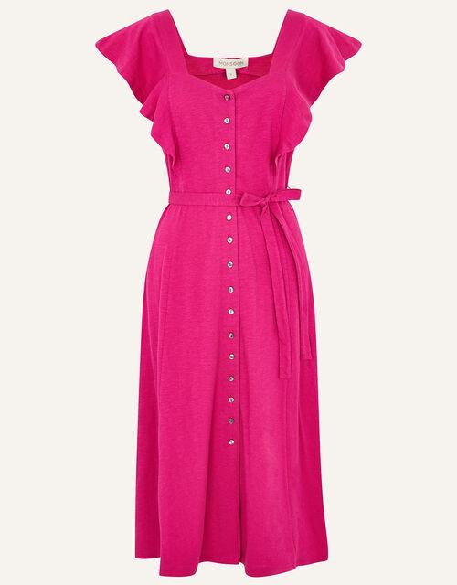 Fia Button Frill Jersey Dress, Pink (PINK), large